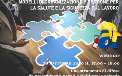 Invito a Webinar – Modelli di organizzazione e gestione per la salute e la sicurezza sul lavoro